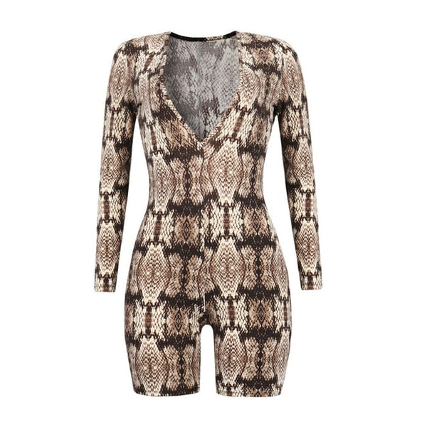 Sexy Snake Skin Print Women Bodysuit Deep V Neck Long Sleeve Rompers Female Casual Bodycon Jumpsuit One Piece Overall Playsuits