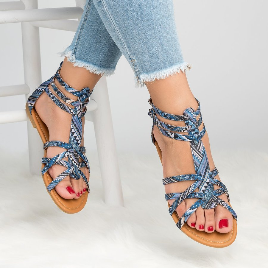 Lady Casual Sandals Shoes Plus Size 35-43 Women Bohemia Colorful Summer Gladiator Flat Ankle Strap Sandals Shoes