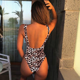 High Cut Swimwear Women Solid One Piece Swimsuit Female High Waist Monokini V-Neck Sexy Bathing Suit Swim Suit Black Red