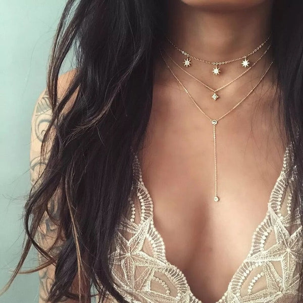 19Style Boho Necklaces for Women Vintage Gold Silver Chain Long Moon Statement Necklace Pendant Bohemian Choker Jewelry
