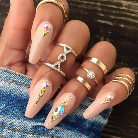 5 Pcs/set Bohemian Fashion Gold Geometric Punk Crystal Ring Set Ladies Party Wedding Jewelry Accessories Christmas Gifts
