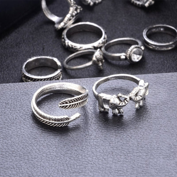 11 Pcs/set Women Retro Bohemian Elephant Leaf Feather Crystal Gems Gold Silver Joint Ring Set Charm Party Wedding Jewelry