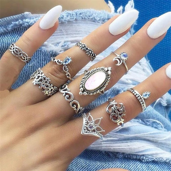 10 Pcs/set Women's Fashion Temperament Gems Flower Moon Crystal Geometric Ring Set Bohemian Jewelry Gift Accessories