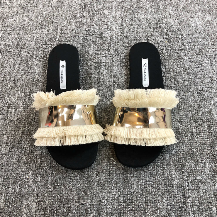 Shoes Women Slippers Fashion Metal Bling Slides Fur Fringe Flip Flops Summer Flat Slides Outside Ladies Shoes