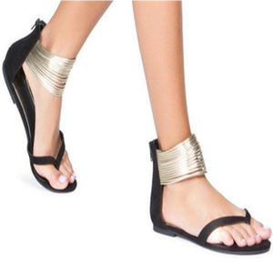 Ladies Bohemia Party Sexy Gladiator Sandals Shoes Plus Size 35-43 Women Flat Ankle Strap Zip Summer Sandals Shoes