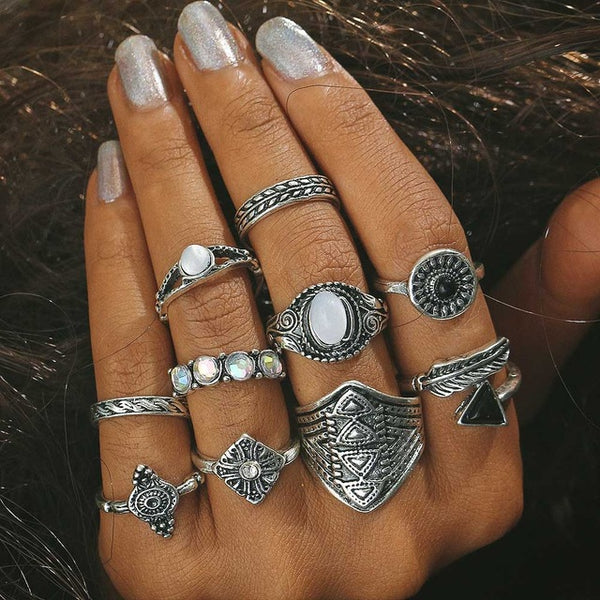 Personality Trend Hollow Lotus Black Stone Joint Stainless Steel Rings Set Wholesale Lots Bulk for Women