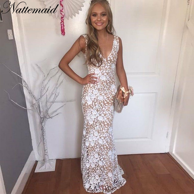 Long Maxi Dresses Women Evening Party White Dress Elegant Mesh Sexy V Neck Sequin Dress Summer Vestidos
