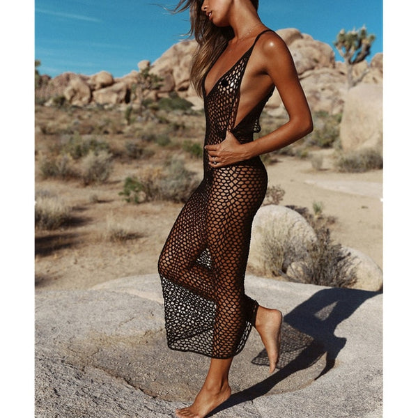 New Women Knitting Net Bikini Cover up Backless Beachwear Pareo Sexy Beach Cover-up Hollow out Long Beach Dress