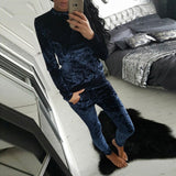 Brand Women's Fashion Shining Warm Velvet 2 Pieces Tracksuit Set Slim Pants Long Sleeve O-Neck Pullover Sweatshirt Hoodie
