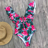 Women  Flounce Off Shoulder Swimsuit Ruffle One Piece Swimsuit Women Sexy Bodysuit Monokini Swimwear Bathing Suit