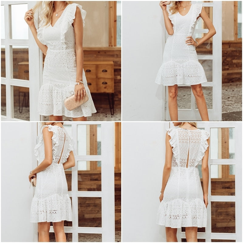 8c8d6220b6fe7 Vintage white lace cotton embroidery women dress Ruffled Spring ...