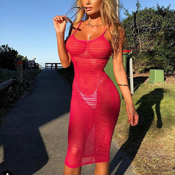 Womens Lace Sexy Summer Crochet Bathing Suit Bikini Swimwear Cover Up Beach Dress Hollow Out One Piece Tops