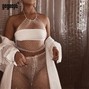 Rhinestone Sexy 2 Piece Set Women Off Shoulder Strapless Crop Top+See Through Pant Elegant Outfit Two Piece Suit