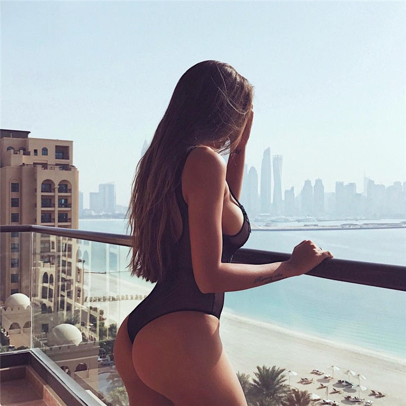 See through mesh one-piece suit embroidered piece swimsuit women sexy non-padded bathing suit transparent swimwear black