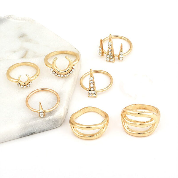 7 Pcs/set Women Punk Moon Triangle Crystal Rhinestone Geometry Hollow Golden Ring Set Personality Party Fashion Jewelry Gift