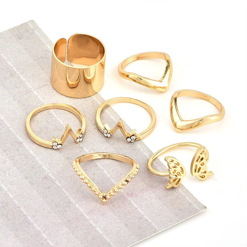 6 Pcs/set Bohemia Fashion Star Butterfly V Shaped Geometric Gold Joint Ring Women Personality Party Ring Set