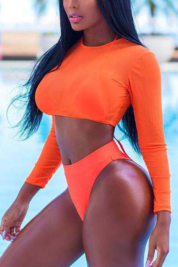 Women Two Piece Swimsuit Summer Sexy Mesh Long Sleeve High Waist Bikini Set Push Up Swimwear Bra+Bottom+Cover Up Swimsuit