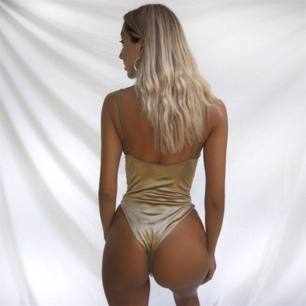 Solid Skinny Sleeveless Bodysuit Women Backless Sexy Bodysuit Gold Summer Casual Romper Bodycon Playsuits Solid