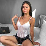 White Patchwork Mesh Bodysuit Backless Transparent Body Women Sexy Top Cami Strap Bodycon Jumpsuit Catsuit Summer