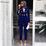 Ocstrade Summer Sets for Women  New Navy Blue V Neck Long Sleeve Sexy 2 Piece Set Outfits High Quality Two Piece Set Suit