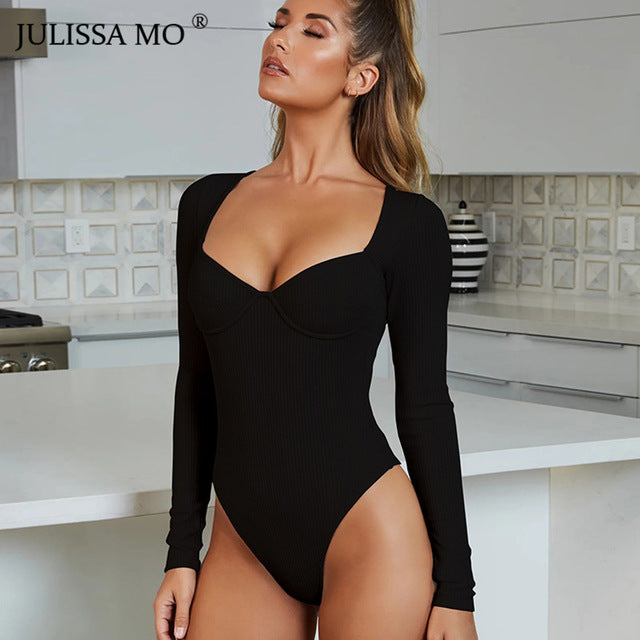 Knitted Long Sleeve Bodysuit Women Tops Sexy V Neck Skinny Rompers Womens Jumpsuit Spring Casual Basic Body