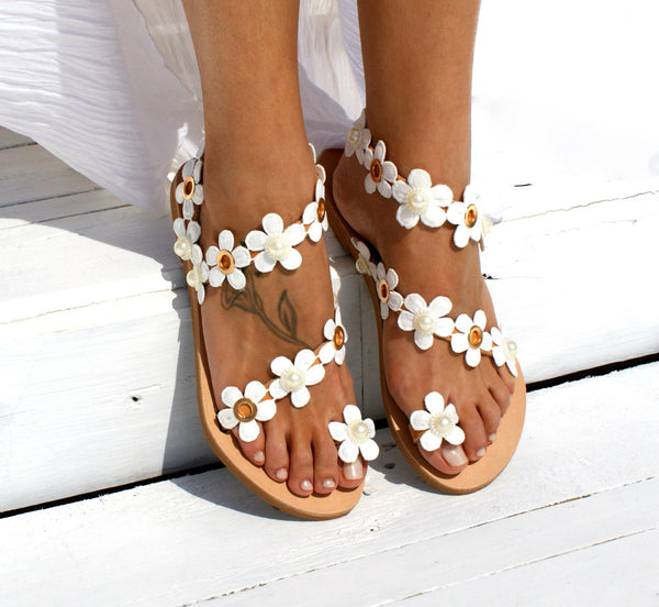 Women Bohemia Flower Flat Summer Sandals Shoes Ladies Girls Sweat Gladiator Sandals Party Shoes Big Size 34-43