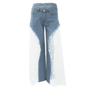 Sexy Women Wide Leg Pants Sheer Mesh Star Print Splice Denim Pants High Waist Casual Loose Pants Jeans Fashion Party Trousers