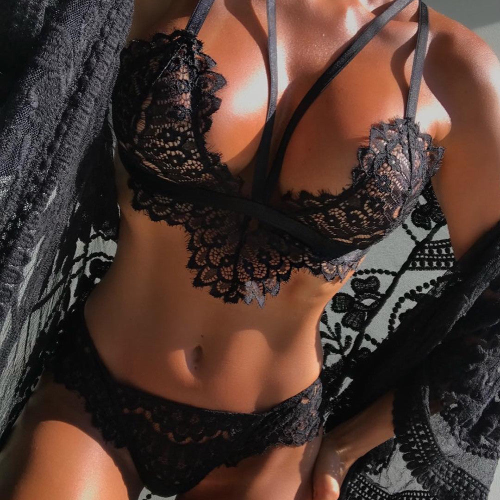 Lingerie Corset Lace Flowers Push Up Top  Briefs Underwear Set lace top women lingerie femme  Seamless  for women   #6