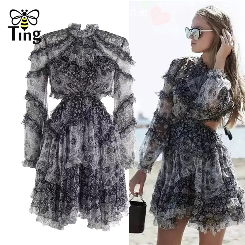 Fashion Designer Runway Mini Dress Women's Backless Ruffles Floral Print Chiffon Mini Dress Sexy Backless Party Dresses