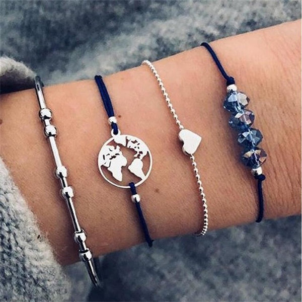 30 Style Boho Bangle Elephant Heart Shell Star Moon Bow Map Crystal Bead Bracelet Women Charm Party Wedding Jewelry Accessories