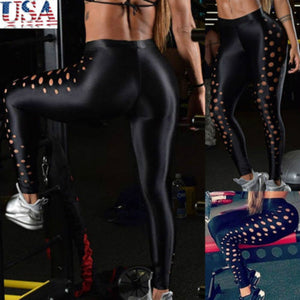 Women Leggings Fitness Pants Hollow Out Leather Wear High Waist Capri Stretch Ankle Length