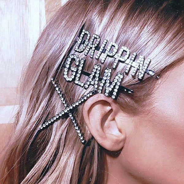 StoneFans Handmade Crystal Rhinestone Letter Barrettes Design For Women Girls DRIPPIN Hair pins Clip Barrette Hair Accessories
