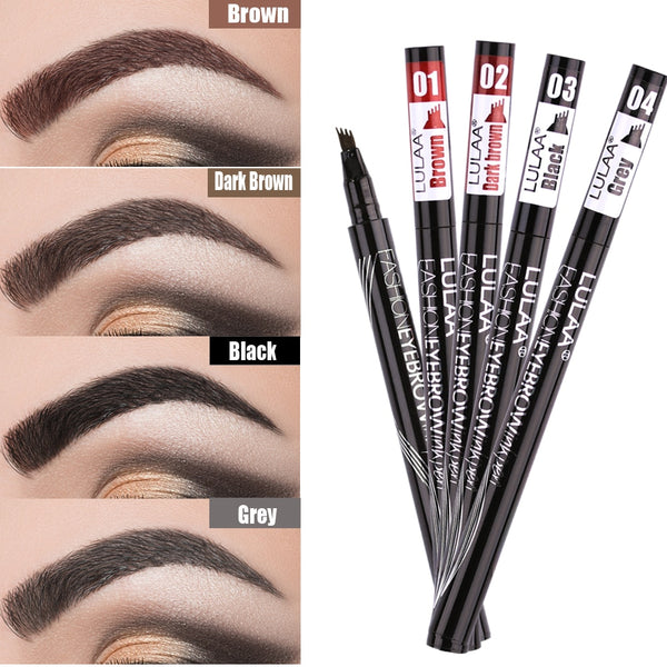 Waterproof Natural Eyebrow Pen Four-claw Eye Brow Tint Makeup Four Colors Eyebrow Pencil Brown Black Grey Brush Cosmetics