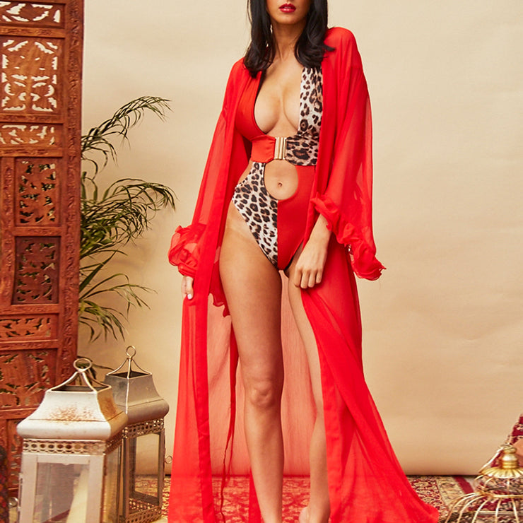 Red leopard bikini mujer monokini Buckle sexy female swimsuit one piece High cut bathing suit women bathers Push up swimwear new