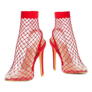 Transparent Shoes Mesh Women Sandals High Heels Summer Pointed Toe Sexy Party Thin Heel Sandalie Female