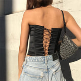 European Court Style Women Lace Up Tanks Fashion Summer Sleeveless Off Shoulder Back Bandage Tops Camisole Ladies T Shirts Tees