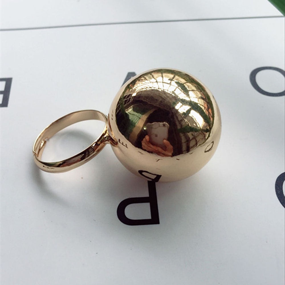 Stylish and Fashionable Large Metal Ball Ring Adjustable Opening Fashion Jewelry Personality Female Rings