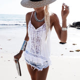 Summer Beach Vest Fashion Women Sexy Lace Chiffon Cami Top Blouse Sexy Vest White Top T-Shirt Tank Vest Summer Fashion Clothes
