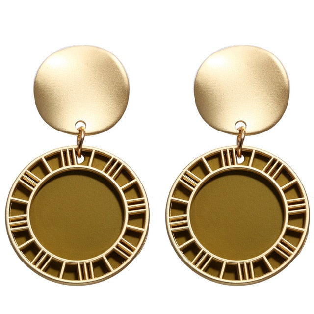 Vintage Geometric Dangle Earring For Women Round Heart Gold Color Fashion Drop Earrings brincos Jewelry