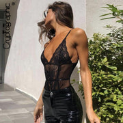 Cryptographic Black Lace Bodysuit Sexy V-Neck Mesh Sheer Body Women Summer Hollow Out Rompers Jumpsuits Straps Teddy Sleepwear