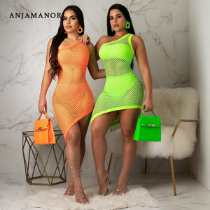 Neon Fishnet Mesh Sexy Three Piece Set Women Bodycon Dress Summer Club Outfits 3 Piece Suits Matching Sets