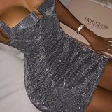 Women Sexy Dress Bodycon Sleeveless Evening Party Sequins Strappy  Mini Dress