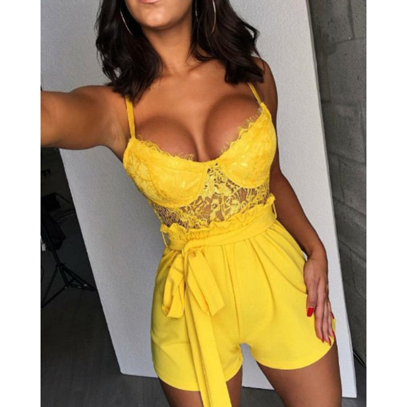 Spaghetti Strap Eyelash Lace Insert Rompers Womens Jumpsuit Summer Sleeveless jumpsuit shorts Sexy beach overalls woman