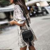 Women Summer Dress Sexy V-Neck Button Snake Print Party Dresses Vintage Half Sleeve Mini Dress Snakeskin dress vestidos