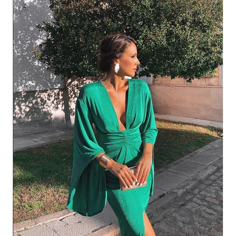 Green Elegant Sexy Dress Summer Women Deep V Neck Bodycon Party Dresses Ladies Flare Sleeve Split Tunic Midi Dress Women