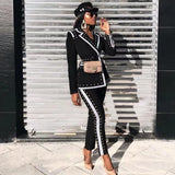 Winter Black Ladies Set Long Sleeve V-neck Studded Blazer High Waist Pants Casual Two-piece Celebrity Runway Party Set
