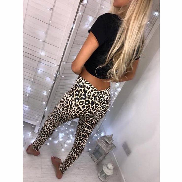 Black PU Leather Leggings and Casual Polyester Leopard Snake Print Leggings Pants Women High Waist Stretch Slim Pencil Pants