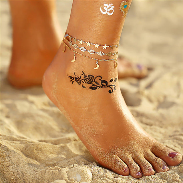 Bls-miracle Design Fashion Pendant Anklets For Women Now Vintage Silver Multi-style Beads Anklet Female Bohemian Jewelry