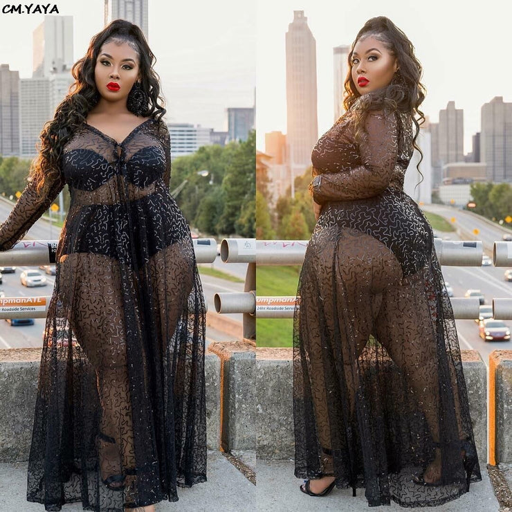 new women see though mesh v-neck long sleeve sexy maxi beach dress party club night long dresses vestidos