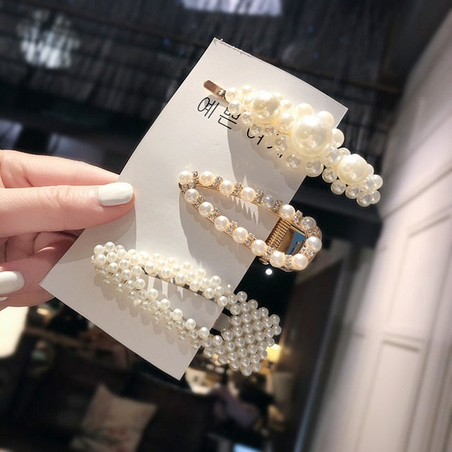 Ins Fashion 1Set Women Girls Elegant Pearls Hair Clips Sweet Headwear Hair Ornament Hairpins Barrettes Headband Hair Accessories